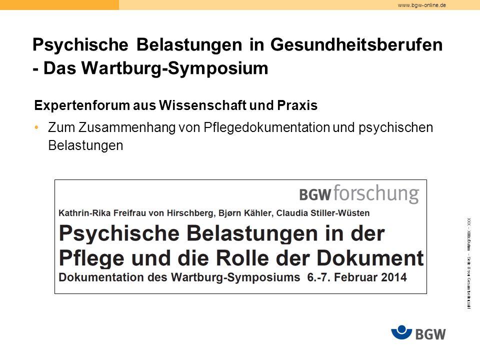 Psychische Belastungen in Gesundheitsberufen - Das Wartburg-Symposium