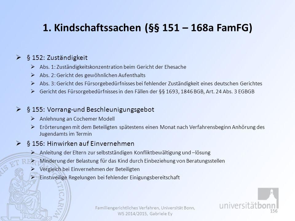 1. Kindschaftssachen (§§ 151 – 168a FamFG)
