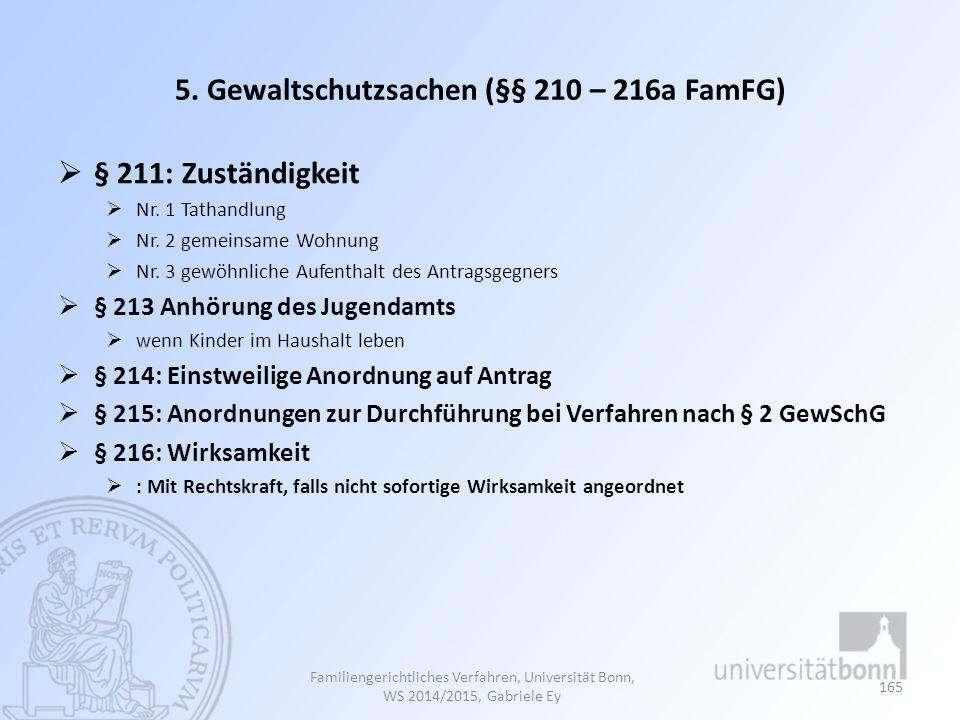 5. Gewaltschutzsachen (§§ 210 – 216a FamFG)