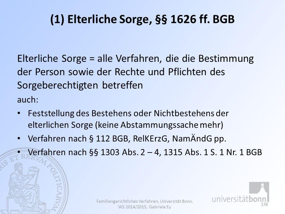 (1) Elterliche Sorge, §§ 1626 ff. BGB