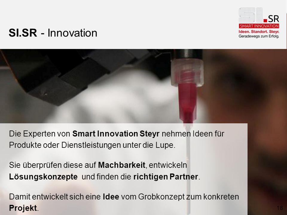 SI.SR - Innovation Die Experten von Smart Innovation Steyr nehmen Ideen für Produkte oder Dienstleistungen unter die Lupe.