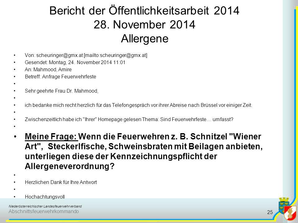 Bericht der Öffentlichkeitsarbeit 2014 28. November 2014 Allergene