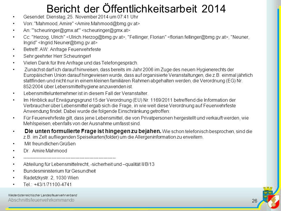 Bericht der Öffentlichkeitsarbeit 2014
