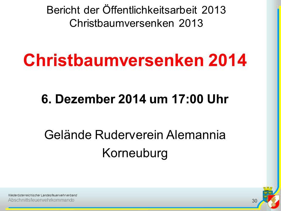 Bericht der Öffentlichkeitsarbeit 2013 Christbaumversenken 2013