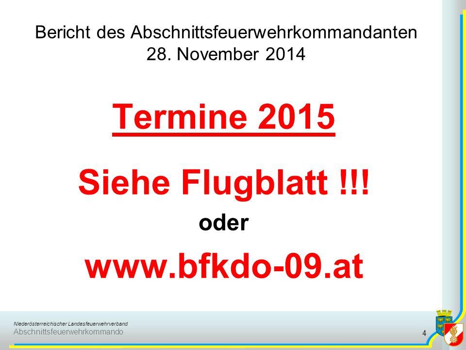 Bericht des Abschnittsfeuerwehrkommandanten 28. November 2014