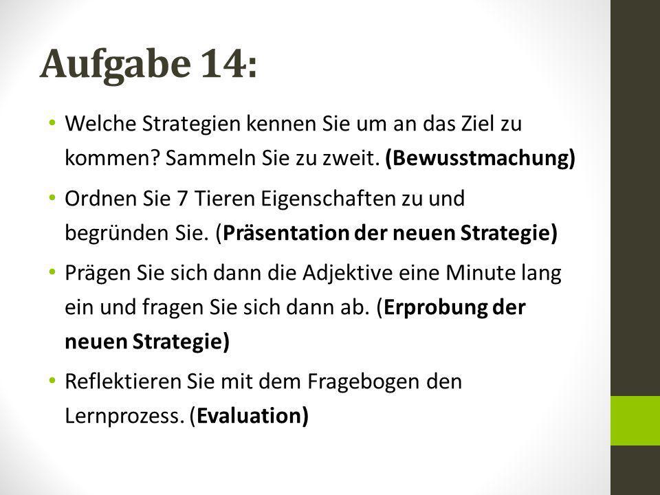 Aufgabe 14: Welche Strategien kennen Sie um an das Ziel zu kommen Sammeln Sie zu zweit. (Bewusstmachung)