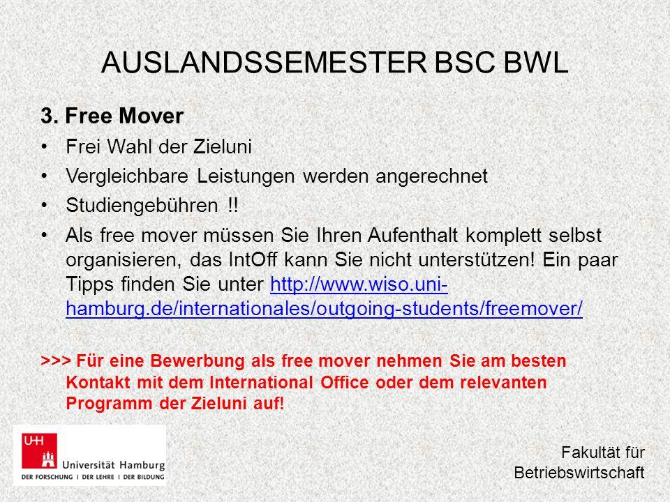 AUSLANDSSEMESTER BSC BWL