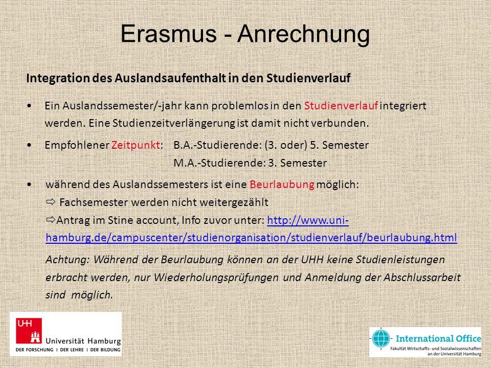 Erasmus - Anrechnung Integration des Auslandsaufenthalt in den Studienverlauf.