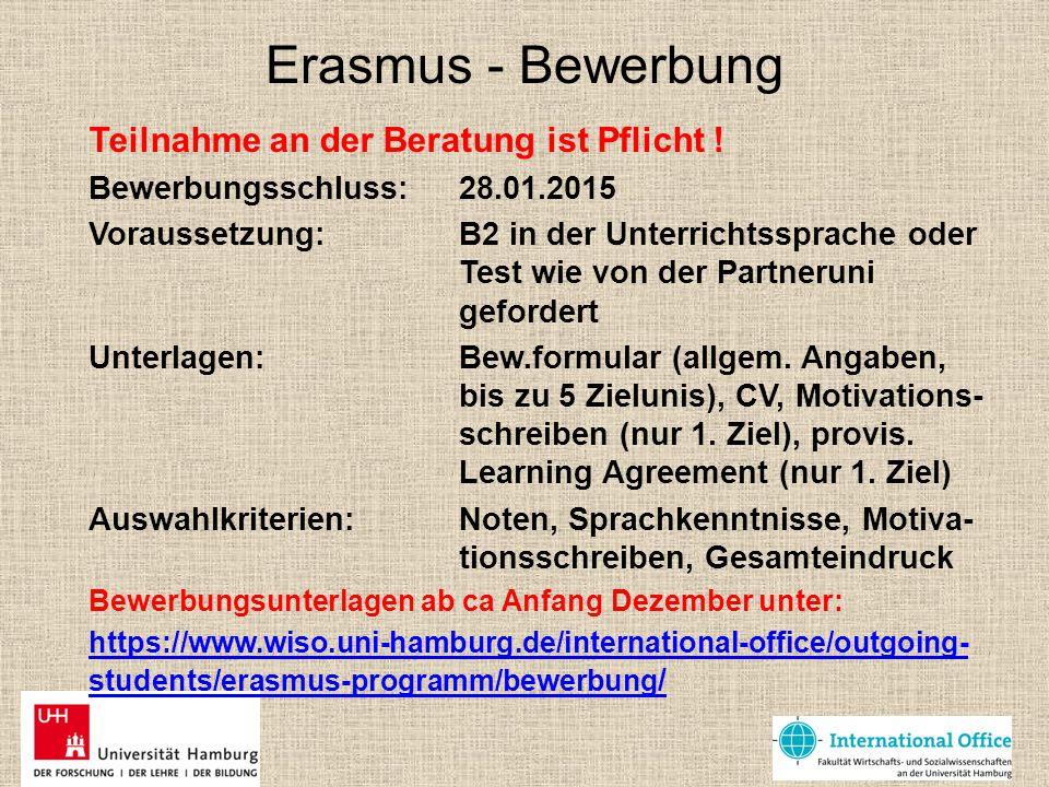 Erasmus - Bewerbung Teilnahme an der Beratung ist Pflicht !