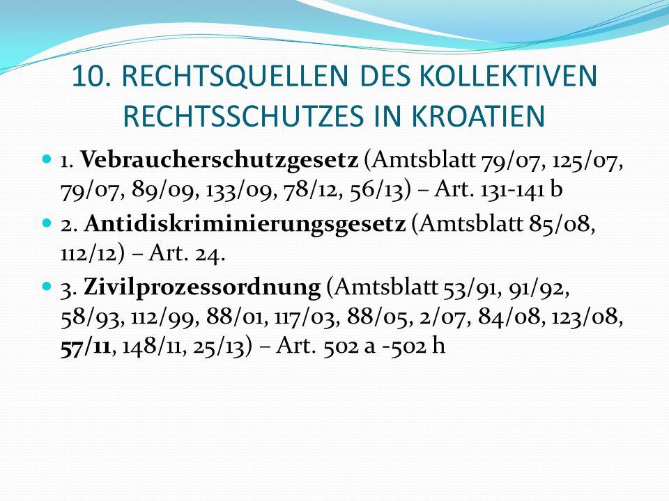 10. RECHTSQUELLEN DES KOLLEKTIVEN RECHTSSCHUTZES IN KROATIEN