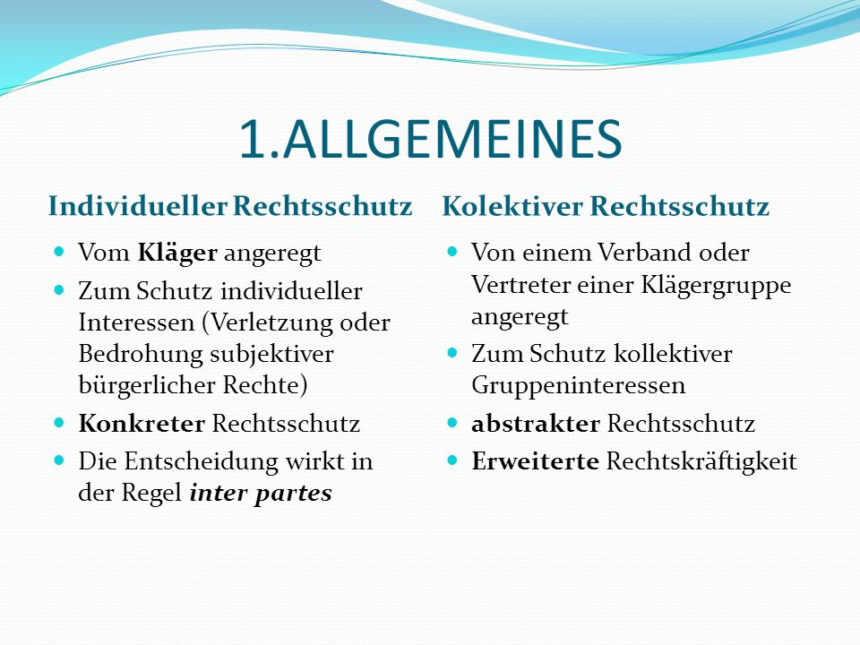 1.ALLGEMEINES Individueller Rechtsschutz Kolektiver Rechtsschutz
