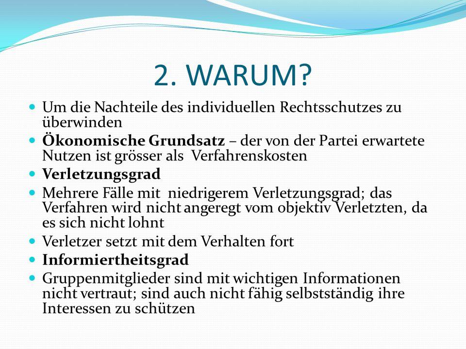2. WARUM Um die Nachteile des individuellen Rechtsschutzes zu überwinden.