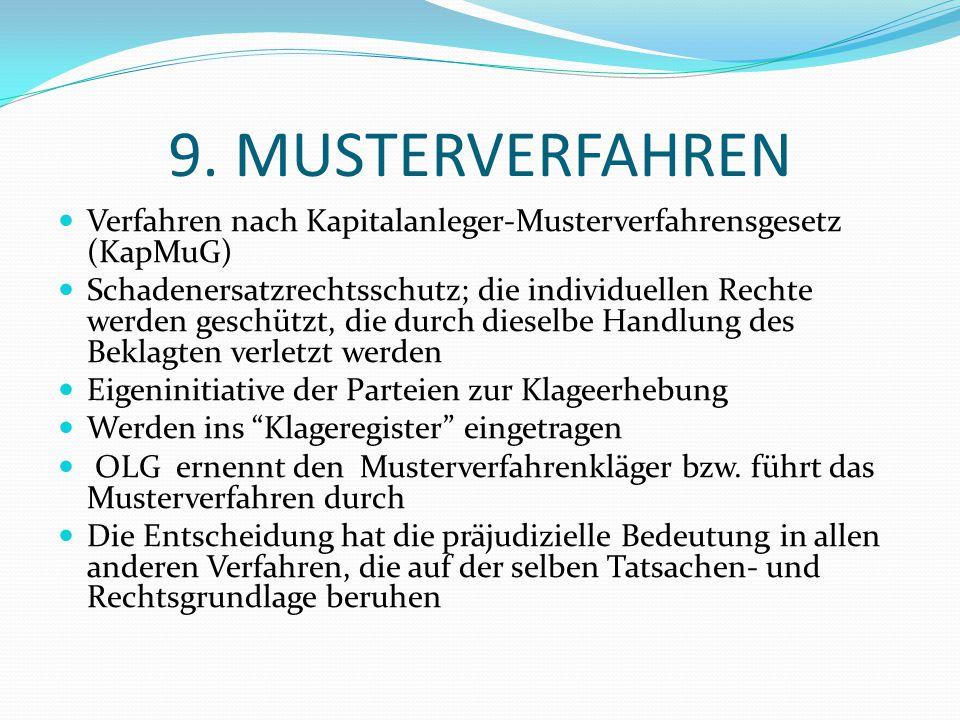 9. MUSTERVERFAHREN Verfahren nach Kapitalanleger-Musterverfahrensgesetz (KapMuG)