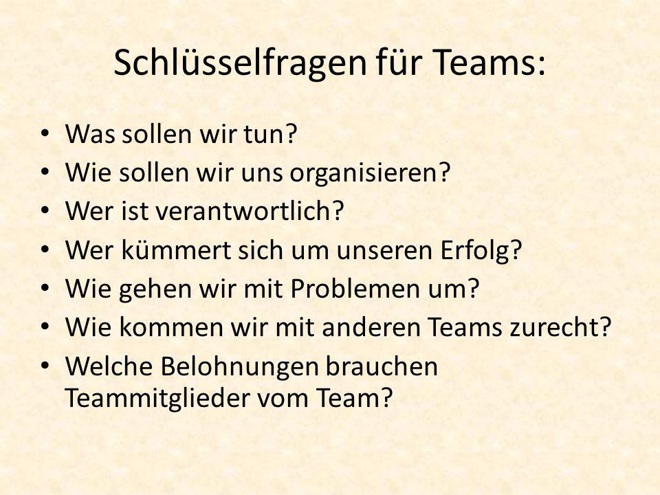 Schlüsselfragen für Teams: