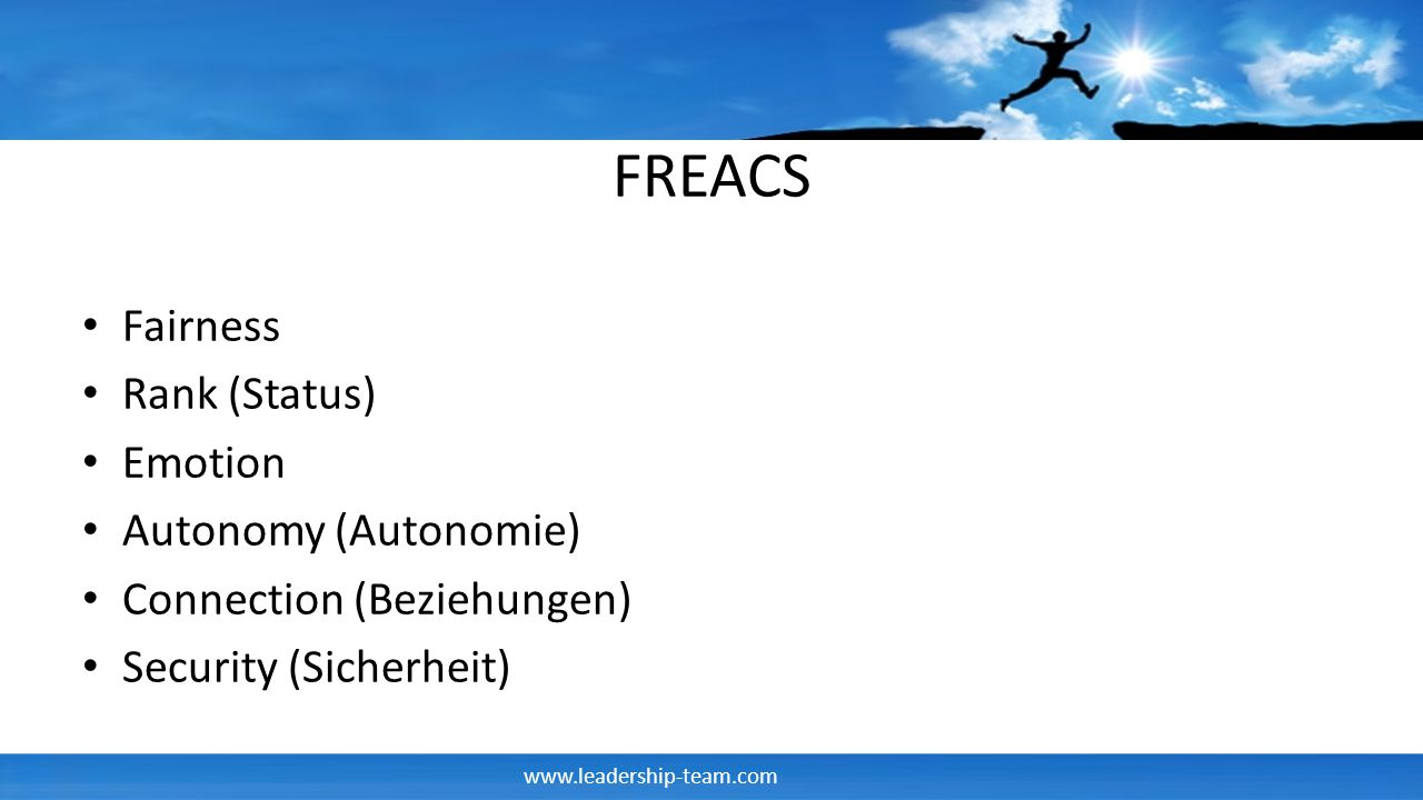 FREACS Fairness Rank (Status) Emotion Autonomy (Autonomie)