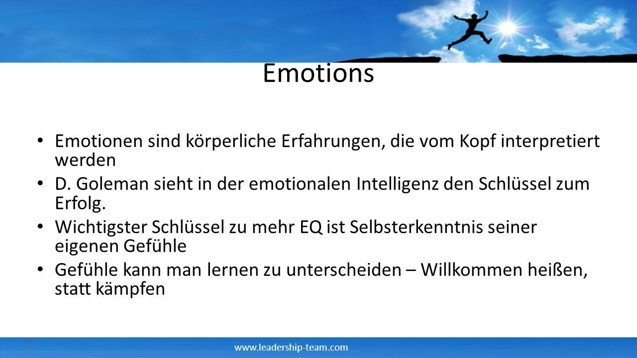 Emotions Emotionen sind körperliche Erfahrungen, die vom Kopf interpretiert werden.