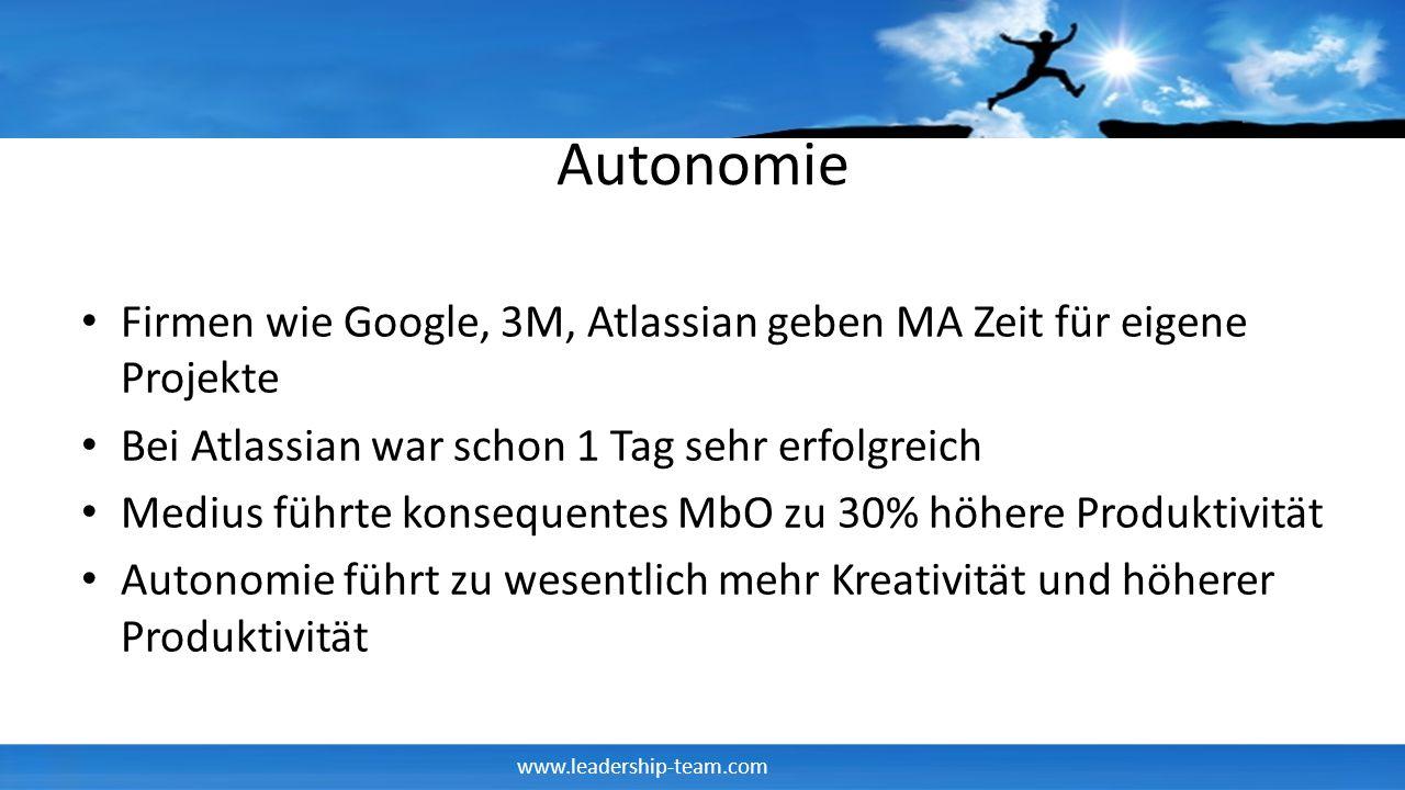 Autonomie Firmen wie Google, 3M, Atlassian geben MA Zeit für eigene Projekte. Bei Atlassian war schon 1 Tag sehr erfolgreich.