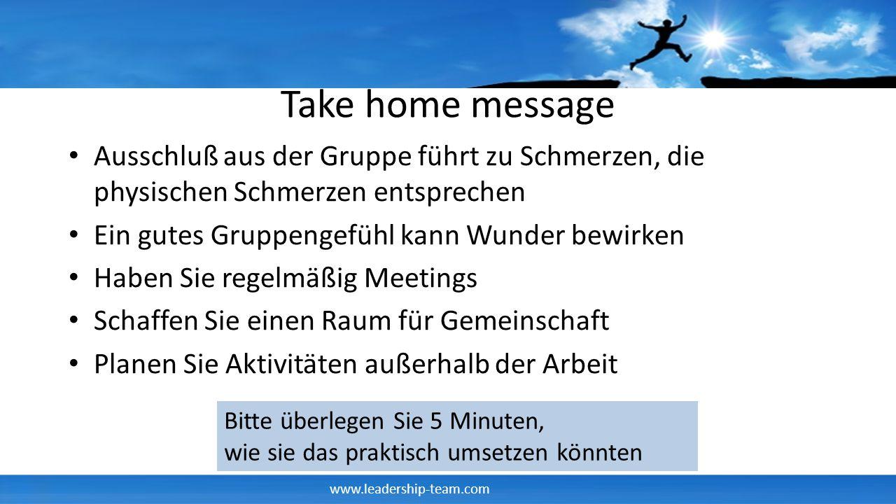 Take home message Ausschluß aus der Gruppe führt zu Schmerzen, die physischen Schmerzen entsprechen.