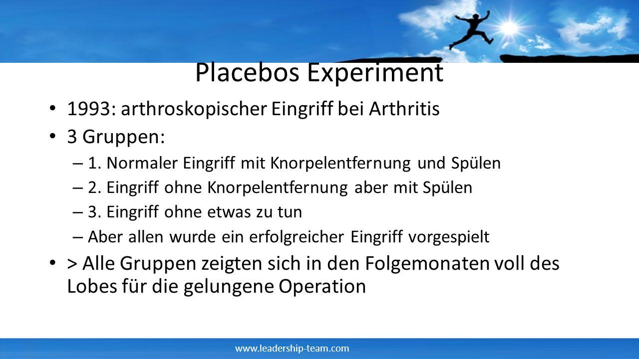 Placebos Experiment 1993: arthroskopischer Eingriff bei Arthritis