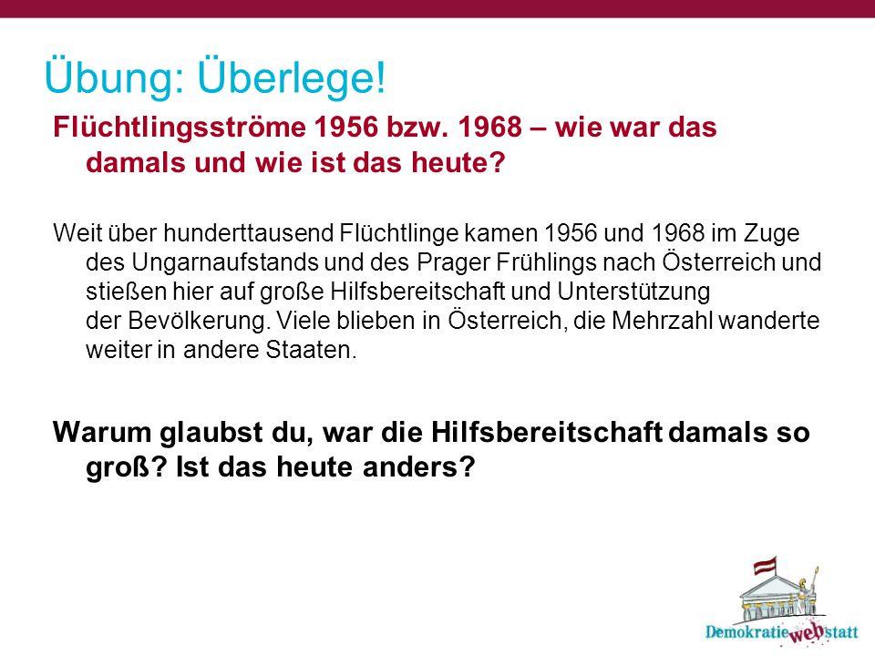 Übung: Überlege! Flüchtlingsströme 1956 bzw. 1968 – wie war das damals und wie ist das heute