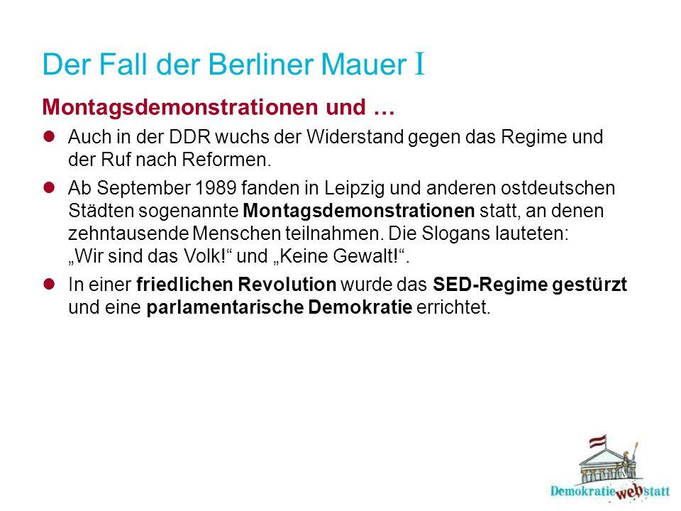 Der Fall der Berliner Mauer I