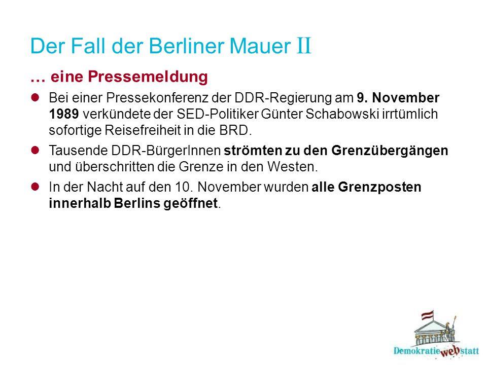 Der Fall der Berliner Mauer II