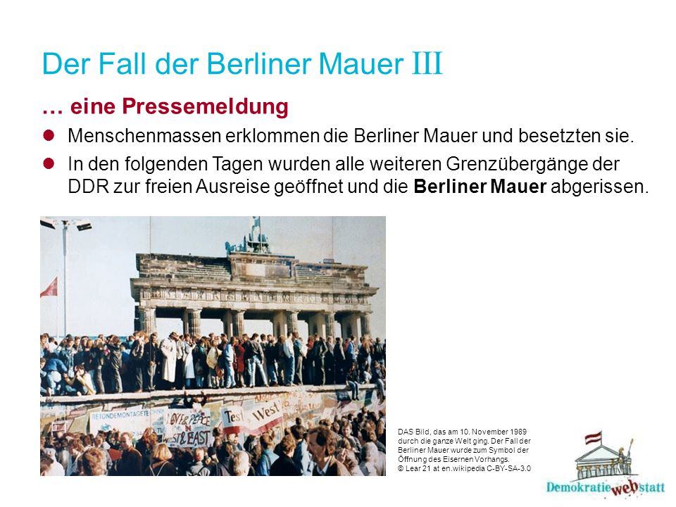 Der Fall der Berliner Mauer III