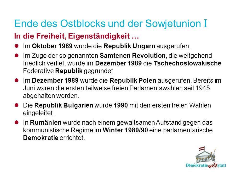 Ende des Ostblocks und der Sowjetunion I