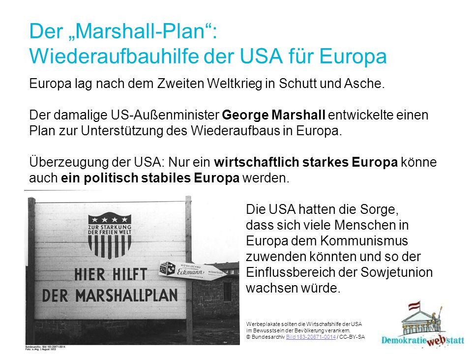 """Der """"Marshall-Plan : Wiederaufbauhilfe der USA für Europa"""