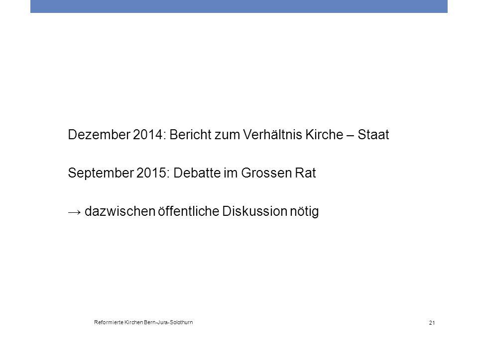 Dezember 2014: Bericht zum Verhältnis Kirche – Staat