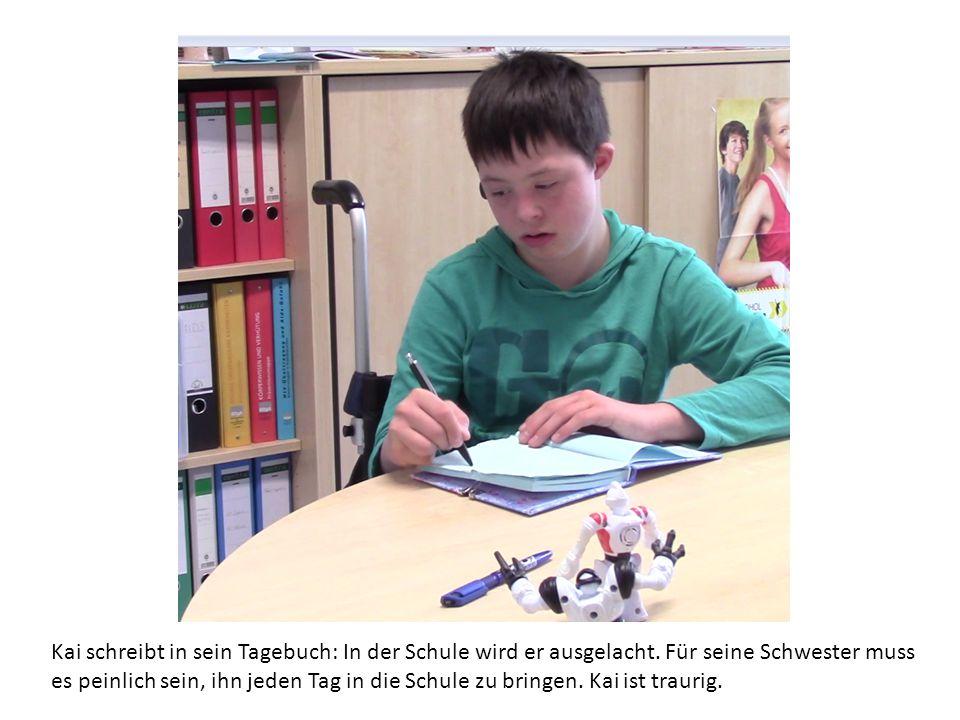 Kai schreibt in sein Tagebuch: In der Schule wird er ausgelacht