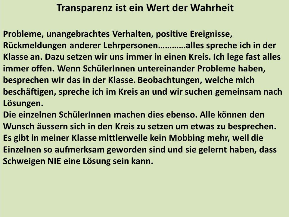 Transparenz ist ein Wert der Wahrheit