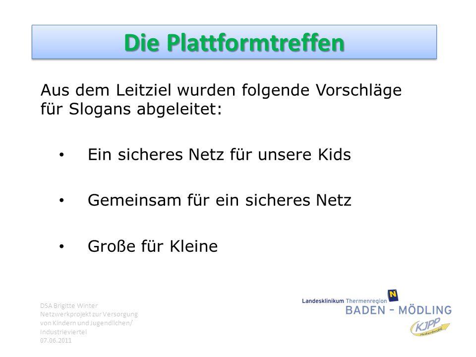 Die Plattformtreffen Aus dem Leitziel wurden folgende Vorschläge für Slogans abgeleitet: Ein sicheres Netz für unsere Kids.