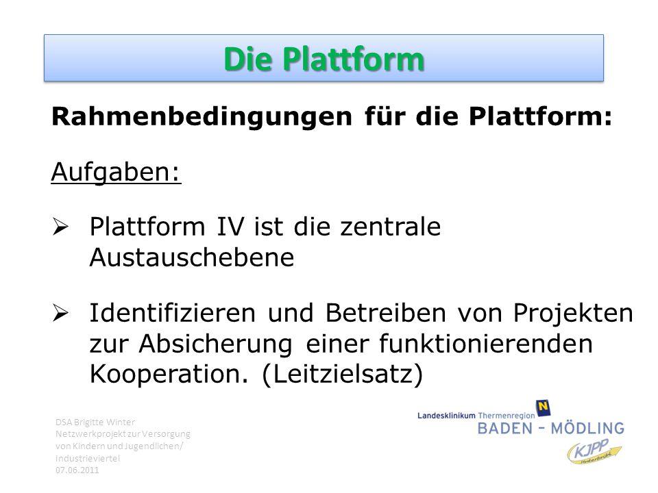 Die Plattform Rahmenbedingungen für die Plattform: Aufgaben: