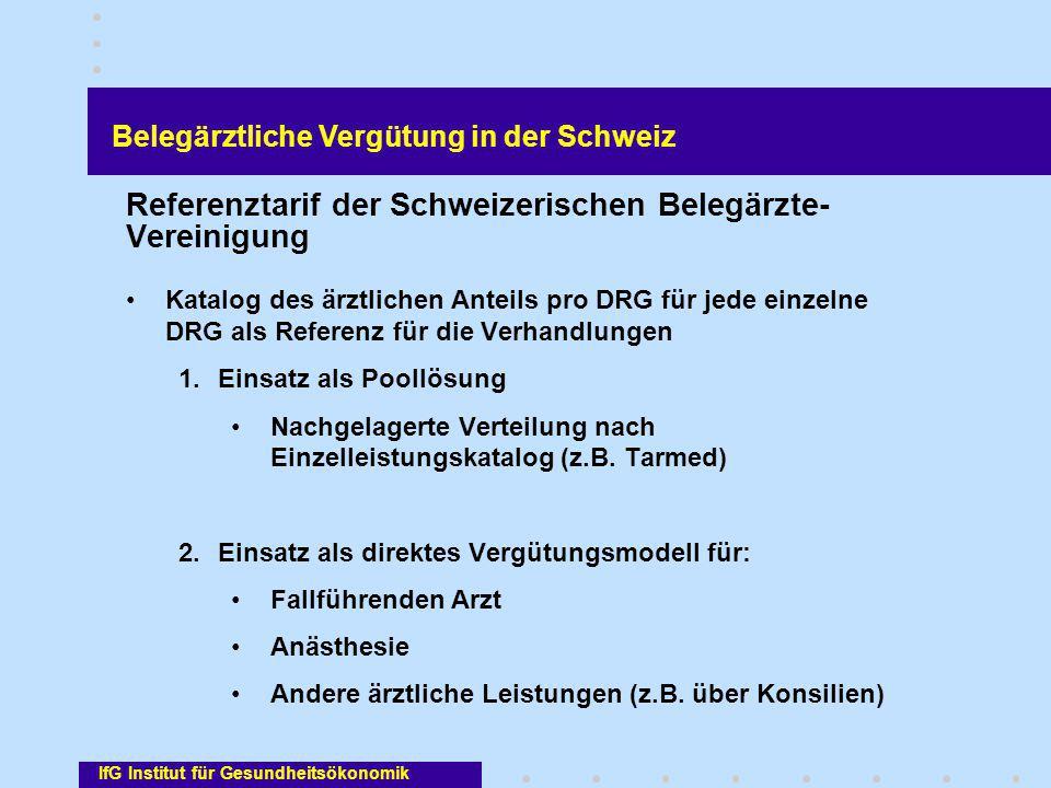 Referenztarif der Schweizerischen Belegärzte-Vereinigung
