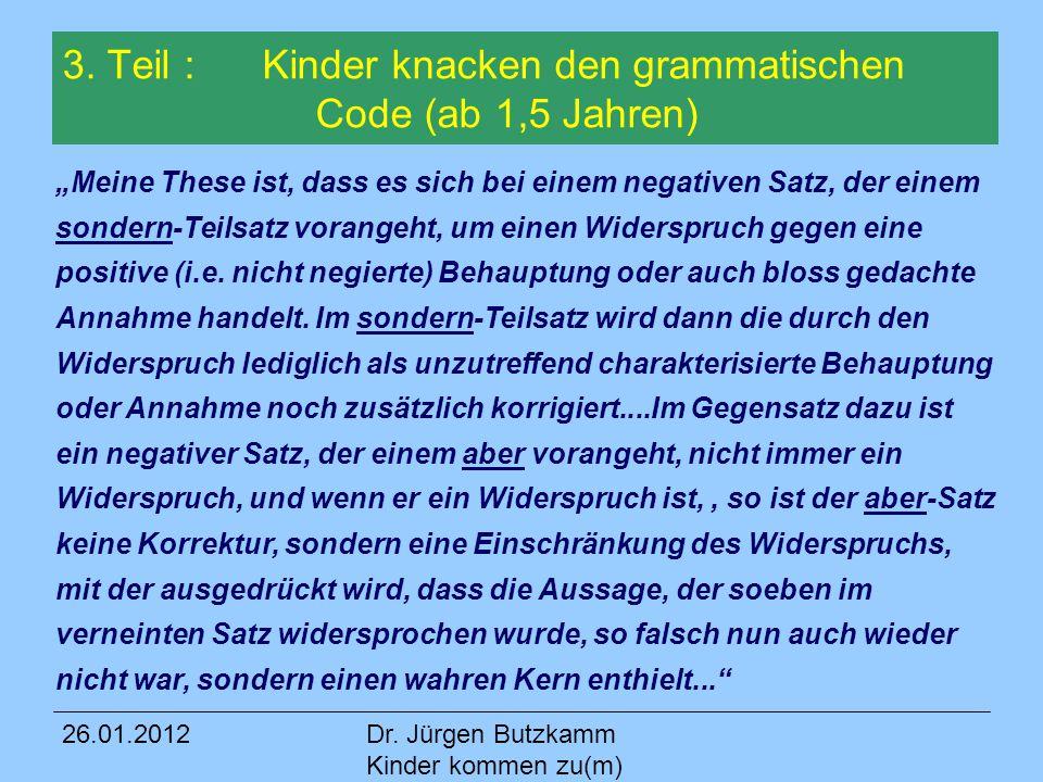 3. Teil : Kinder knacken den grammatischen Code (ab 1,5 Jahren)