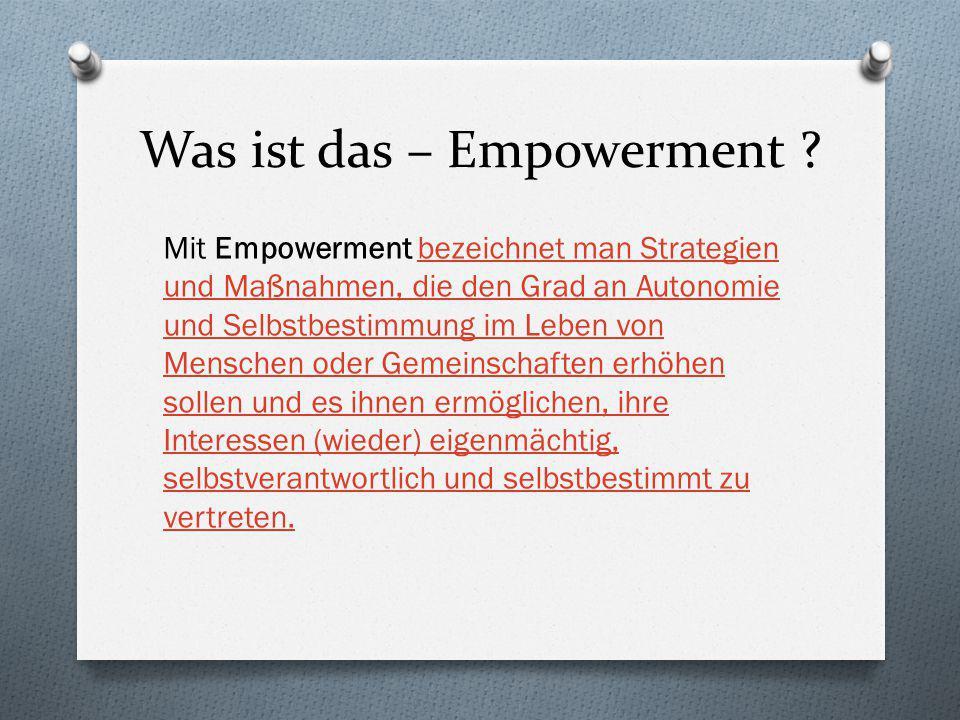 Was ist das – Empowerment