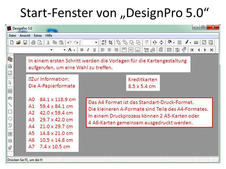 """Start-Fenster von """"DesignPro 5.0"""