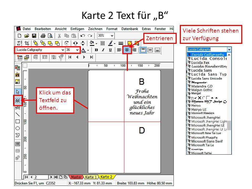 """Karte 2 Text für """"B Viele Schriften stehen zur Verfügung Zentrieren"""