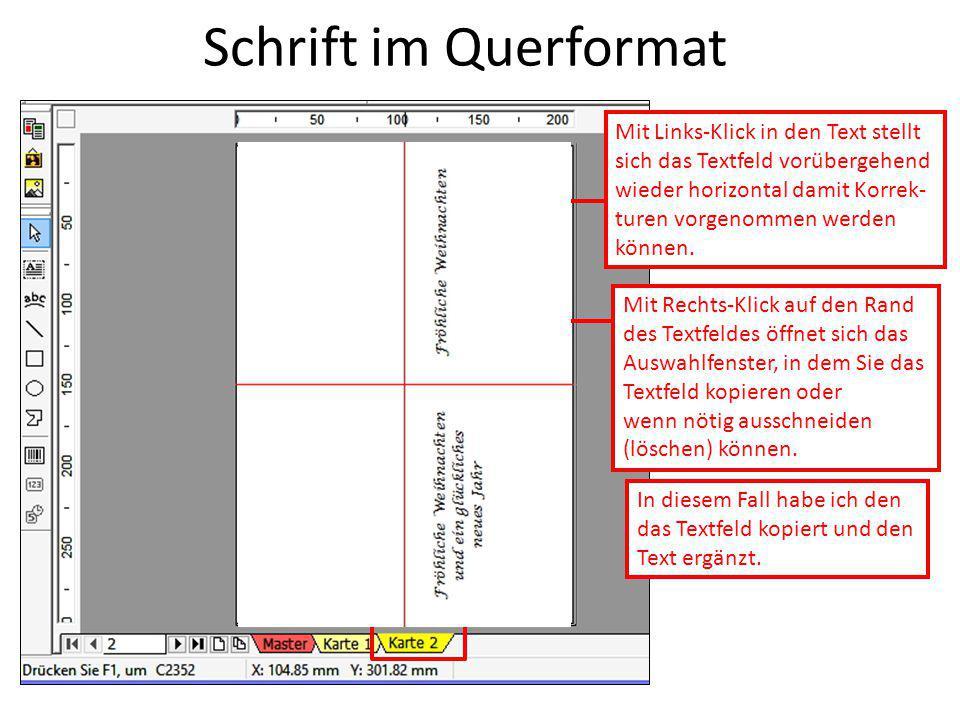 Schrift im Querformat Mit Links-Klick in den Text stellt