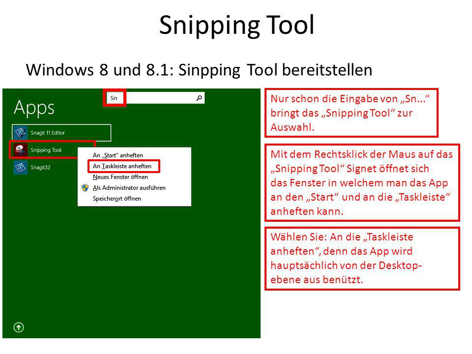 Snipping Tool Windows 8 und 8.1: Sinpping Tool bereitstellen
