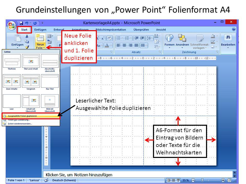 "Grundeinstellungen von ""Power Point Folienformat A4"