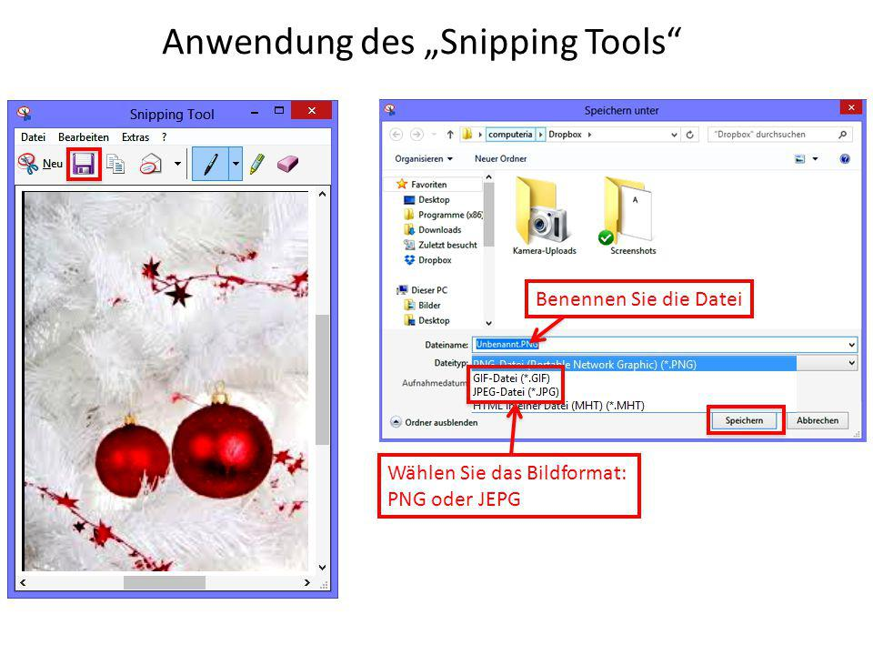 "Anwendung des ""Snipping Tools"