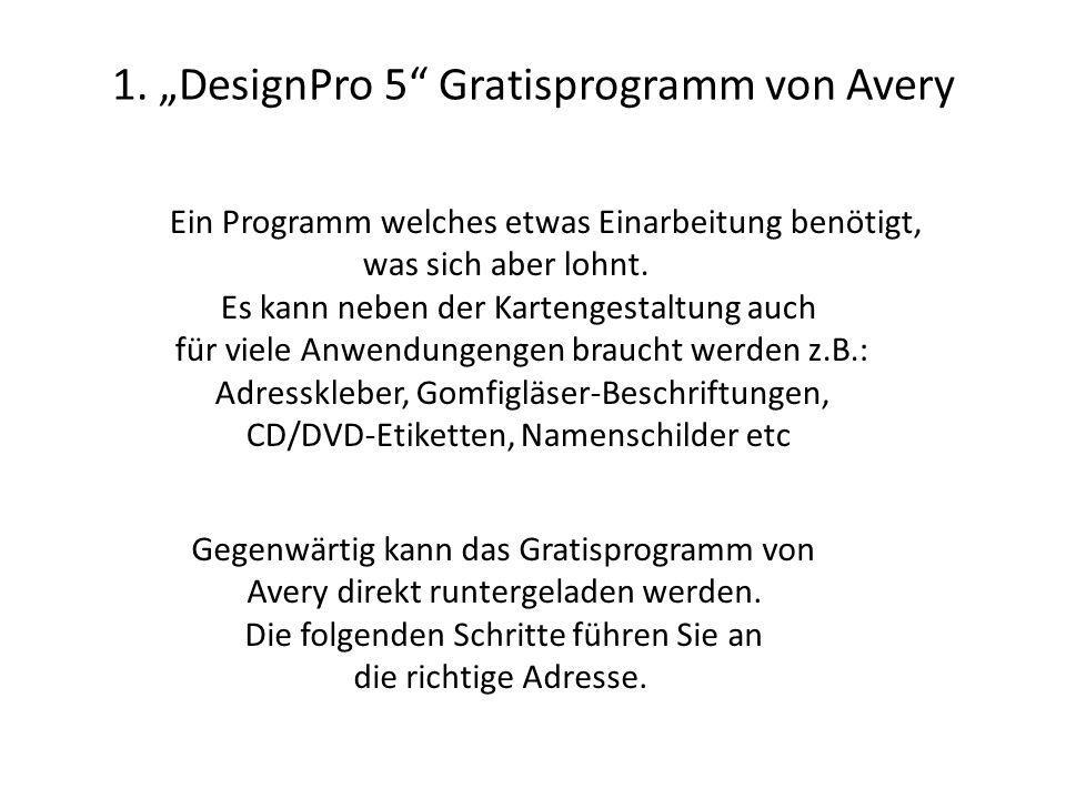 """1. """"DesignPro 5 Gratisprogramm von Avery"""
