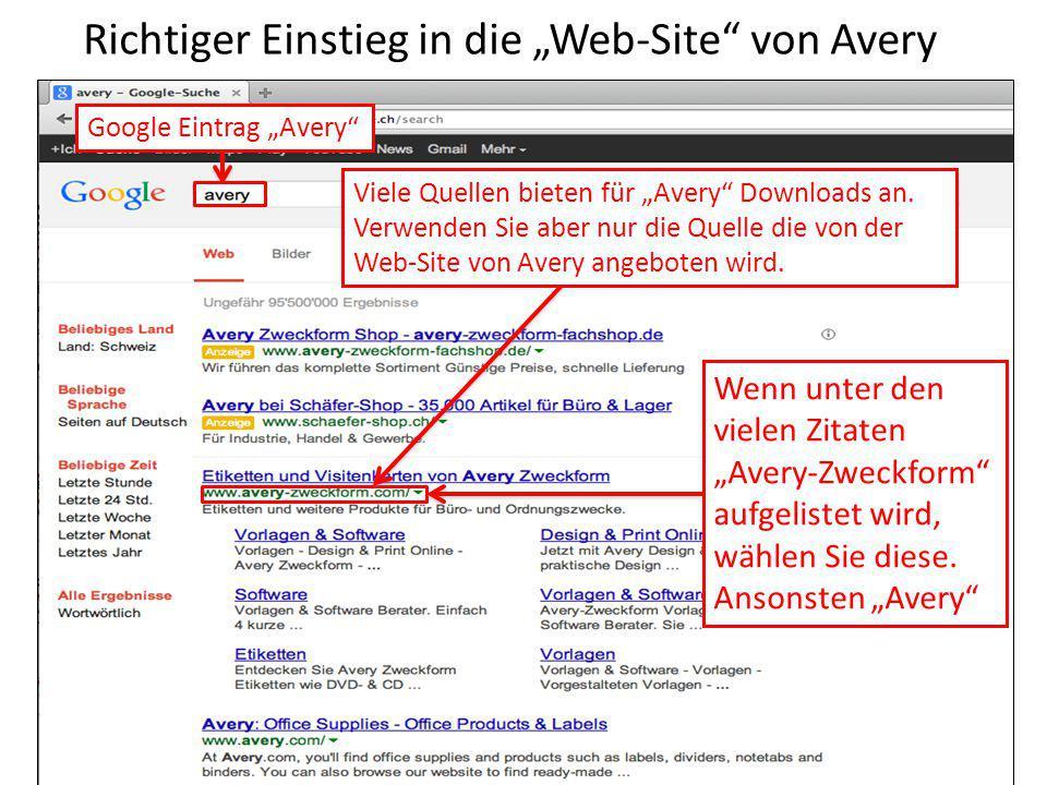 """Richtiger Einstieg in die """"Web-Site von Avery"""