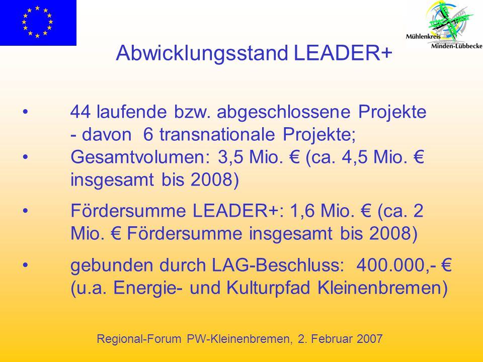Abwicklungsstand LEADER+