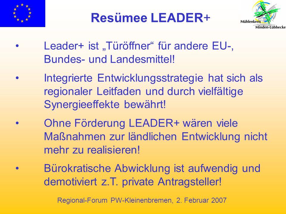 """Resümee LEADER+ Leader+ ist """"Türöffner für andere EU-,"""