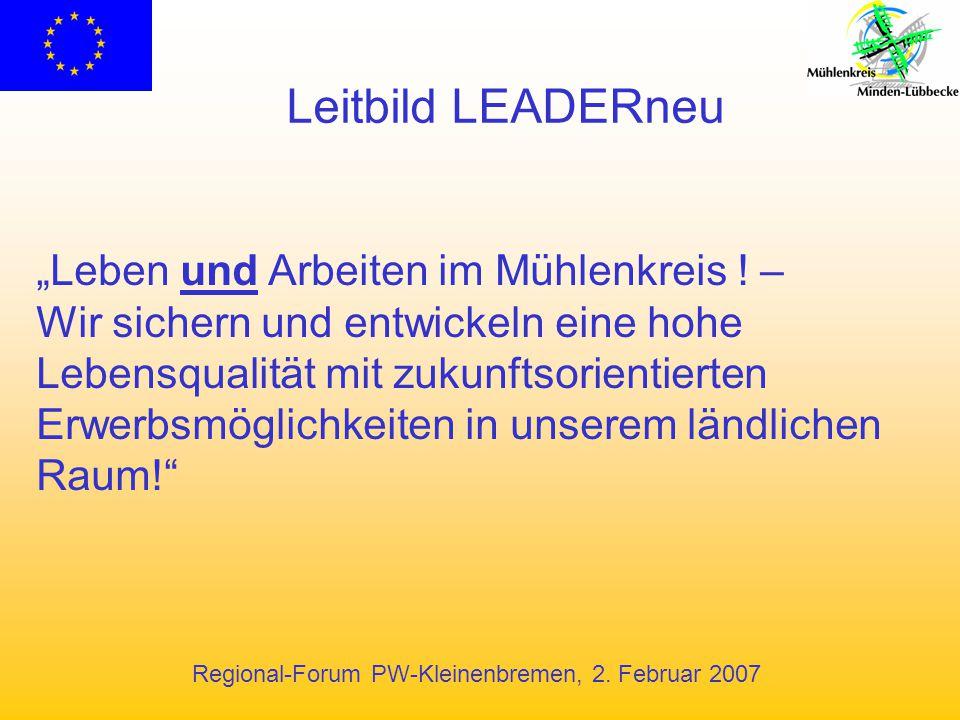 """Leitbild LEADERneu """"Leben und Arbeiten im Mühlenkreis ! –"""