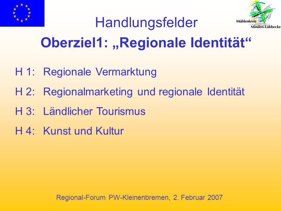 """Oberziel1: """"Regionale Identität"""