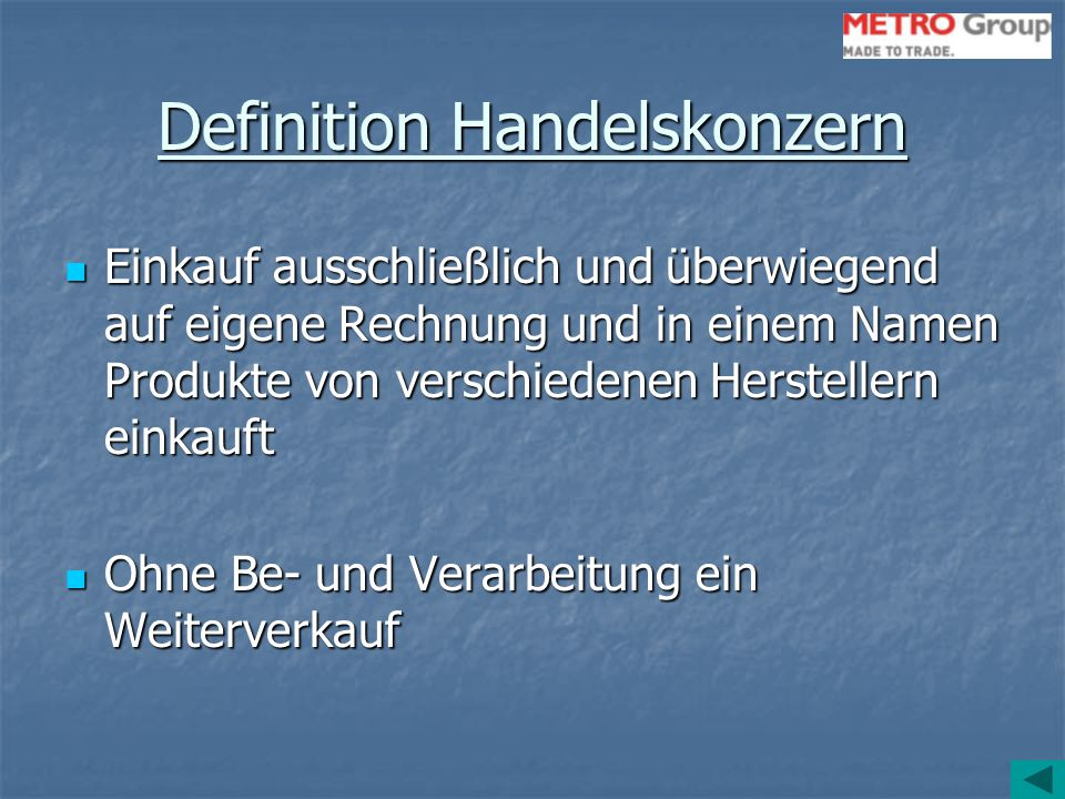 Definition Handelskonzern